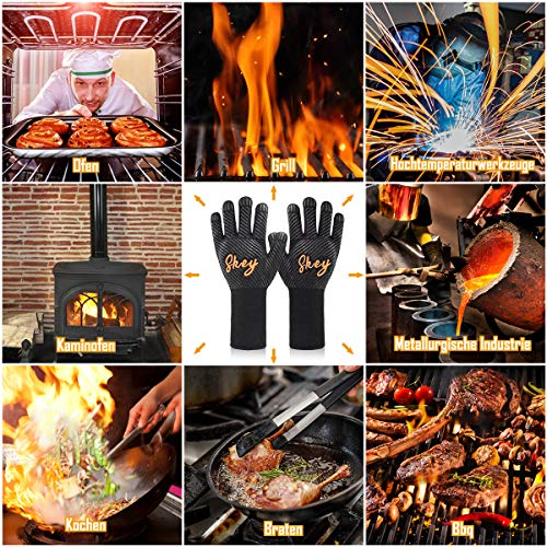 61TSGuha4VL - SKEY Grillhandschuhe Ofenhandschuhe Grill Handschuhe zubehör Hitzebeständige bis zu 800 ° C Universalgröße Kochhandschuhe Backhandschuhe für BBQ Kochen Backen und Schweißen-Klassisch Schwarz