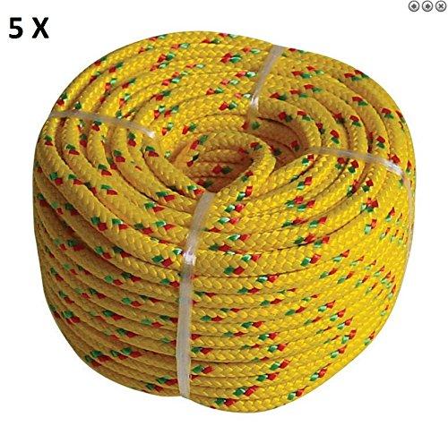 Preisvergleich Produktbild 100m PP Seil, Tau Polypropylen 5 x 20m, 6mm Leine, Schnur Flechtleine