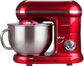 Cookmii Küchenmaschine Knetmaschine Rührgerät (1090 Watt, 5,5 Liter-Rührschüssel, 6-stufige Geschwindigkeit) Rot