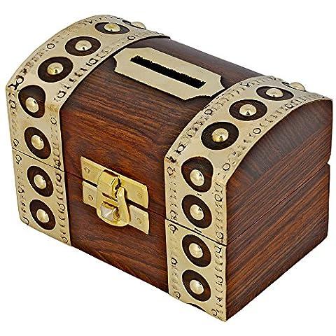 Tirelire design coffre fort - Boite en bois pour économiser l'argent - Ouverture/Fermeture facile