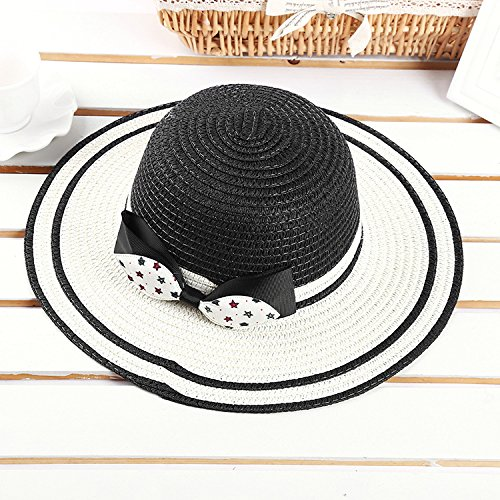 838557d88f4b6b 23% OFF on Generic Blue : Children travel cool hat straw sun hat child girl  summer striped bow large brimmed cap beach beanies newborn photography  props on ...