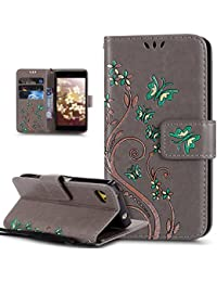 Sony Xperia Z5 Compact Case,Sony Xperia Z5 Compact Cover,ikasus Colorful Painted Embossing Butterfly Flower Pattern Premium PU Leather Fold Wallet Pouch Case Wallet Flip Cover Bookstyle Magnetic Closure with Card Slots & Stand Function Protective Case Cover for Sony Xperia Z5 Compact,Gray