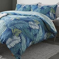 Fusion Juego de funda nórdica, de la marca, diseño frontal de grandes hojas tropicales y reverso de rayas, verde azulado, matrimonio