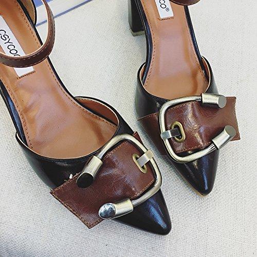 SHINIK Femmes Pompe à cheville Pommes Pointes Toe Mules Boucle de ceinture Couleur Hollow Chaussures hautes chaussures Chaussures simples Chaussures simples Chaussures à talons hauts Noir Abricot Black