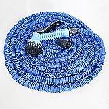 Blau , 30 Meter (ausgedehnt) Flexibler Wasserschlauch, 3 Monate Garantie, Schlauch, Zauberschlauch. Dehnt sich um das 3 fache seiner Größe auf 30 Meter aus. Ultra Leicht. Strapazierfähig. Mit Sprühkopf. Für Standartwasseranschluss für Wasserschläuche, Verknoten fast unmöglich, kein lästiges Schlauch zusammenrollen mehr
