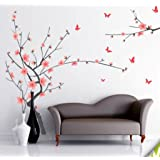 Decals Design StickersKart Wall Stickers Grey Branch with Pink Flowers (Multi-Colour, 200cm...-7138 (Multi-Colour)