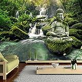 murando - Fototapete 350x256 cm - Vlies Tapete - Moderne Wanddeko - Design Tapete - Wandtapete - Wand Dekoration - Buddha Natur Landschaft Wasserfall c-C-0019-a-d