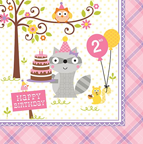 Unbekannt Creative Converting 16 Count 2 nd Birthday Lunch-Servietten, Happi Woodland-Girl -