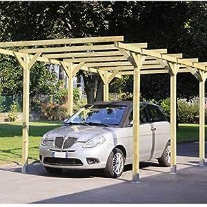 Alce - Auvent en bois pour voiture de dimensions300x 500 cm, modèle Lupo