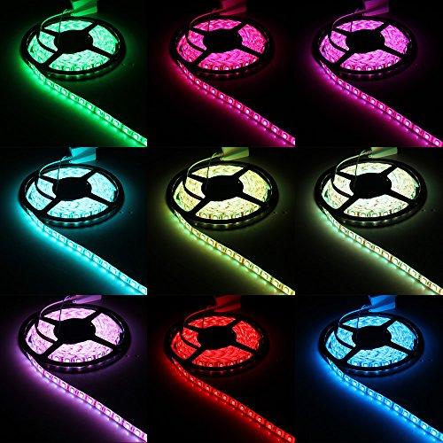 CroLED Striscia LED Bobina 5M 5050SMD 300LED DC 12V RGB Adesivo Impermeabile, Telecomando + Controllo Box + 5A Alimentatore Standard Europeo