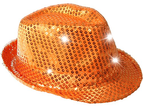 Paillettenhut Pailettenhut Pailletten Hut Disco-Hut Clubstyle Partyhut Trilby Hut Bling Bling - Orange LED LICHT