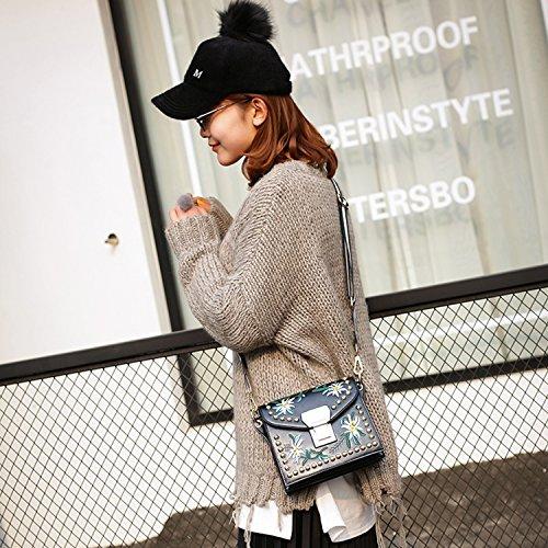 BYD Damen Mini Handtasche Beutel Weinlese PU-Leder-Schulter-Beutel-beiläufige Beutel Retro moderne Stickerei Umhängetasche Umhängetasche schwarz