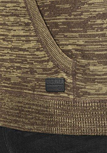 BLEND Sammy Herren Strickpullover Hoodie Feinstrick Pulli mit Kapuze aus 100% Baumwolle Meliert Mocca Mix (70816)