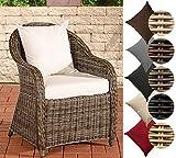 CLP Polyrattan-Sessel FARSUND inklusive Sitzkissen I Robuster Gartenstuhl mit einem Untergestell aus Aluminium I In verschiedenen Farben erhältlich Rattan Farbe grau-meliert, Bezugfarbe: Cremeweiß