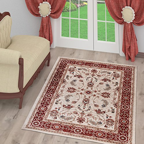 Tapiso tappeto salotto classico – colore bianco foglia disegno persiano di inspirazione orientale – morbido – facile da pulire – prezzo economico 160 x 220 cm