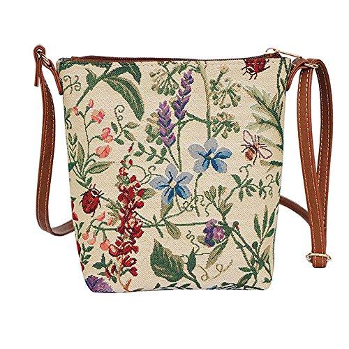 Modische Tapisserie Damen Schlingetasche oder Messengertasche (Morgen Garten)