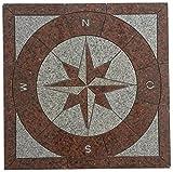 Granit Rosone 67x67 cm für Draußen Windrose Mosaik Einleger Rot Weiss 035