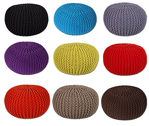 EHC-100-Percent-Cotton-Handmade-Double-Knitted-Round-Foot-with-Stool-Braided-Cushion-Pouffe-Black