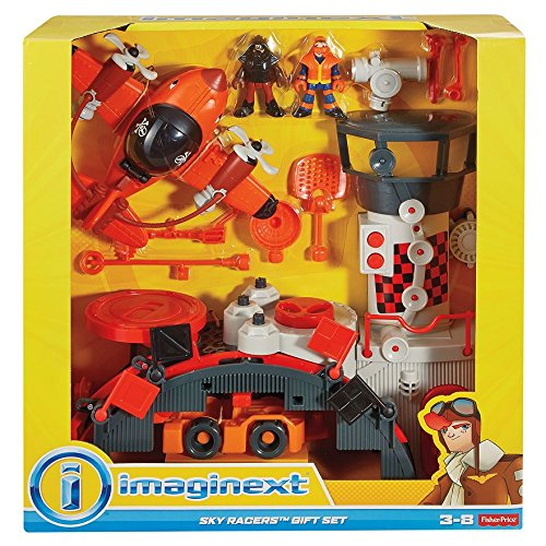 Imaginext Fisher-Price - Sky Racers - Geschenk Set - incl. Flugzeug, 2 Figuren, Tower, Landeplattform, Radar-Antennen und mehr...