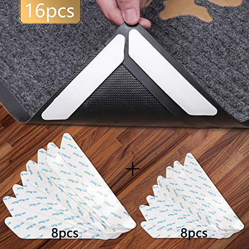 Vicloon Antirutschmatte für Teppich, 16 Stück Teppich Aufkleber Waschbar und Wiederverwendbar, Teppich Ecke rutschfest Teppichstopper Starke Klebrigkeit und Leicht zu Entfernen - 2 Größen, Weiß