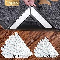VLCOO Antirutschmatte für Teppich, 16 Stück Teppich Aufkleber Waschbar und Wiederverwendbar, Teppich Ecke rutschfest Teppichstopper Starke Klebrigkeit und Leicht zu Entfernen - 2 Größen, Weiß