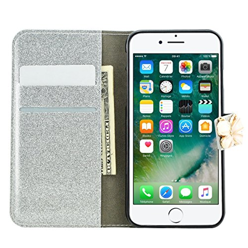 iPhone 8 Plus Hülle, Fraelc iPhone 7 Plus Weiche TPU Inner Tasche Bling 3D Schmetterling Magnetverschluss Glitzer Strass Diamant Lederhülle Flip Case mit Kartenfächer und Standfunktion Schutzhülle für Silber