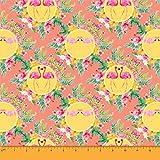 Soimoi Orange Viskose Chiffon Stoff Hibiskus & Flamingo
