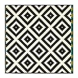 Ikea LAPPLJUNG Ruta–Teppich, Low Flor, weiß, schwarz–200x 200cm