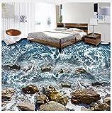 3D Hintergrundbild Wallpaper Boden Pvc Wandbild 3D Bodenbelag Tapete Seaside Meereswellen Steine Wohnzimmer Schlafzimmer Badezimmer Pvc Wasserdichte Boden Wandbild Tapete Home Decor 200X140Cm,Ayzr