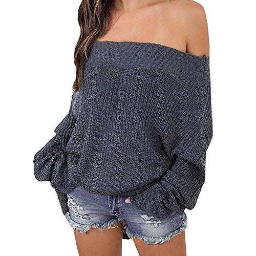 Exlura Damen Schulterfreier Lockerer Oversized Pullover mit Fledermausärmeln Sweater Strick-Pulli, Grau, S/M/L (Booty T-shirt Weißes)