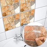 Frolahouse 10 stück Fliesen zum überkleben im Bad und Küche Nordischer minimalistischer gelber Stein Fliesenaufkleber Wandfliesen-Aufkleber selbstklebend Fliesenaufkleber verschiedene Größen Fliesenaufkleber