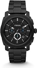 Fossil Herrenuhr Machine/Analoge, Robuste Chronographen Uhr mit großem Ziffernblatt, Datumsanzeige & wechselbarem Edelstahl Armband - im zeitlosen Industrial-Look