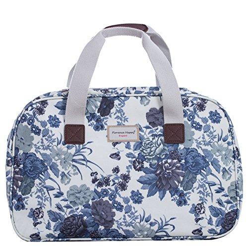 Borsa in tela cerata, da viaggio/vacanza, fantasie varie stampate (fiori, civette, a righe) Blue Roses