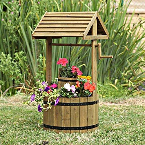Garden Mile Grand 125cm bois de feuillus Qui Souhaitent bien Baril jardinière jardin Extérieur Pot de fleur décoration jardin