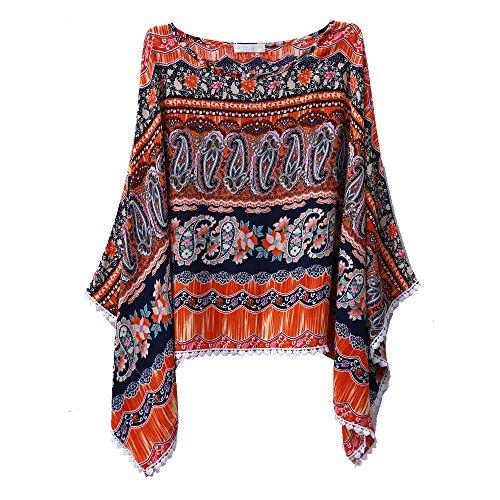 Hengsog Donna Floreale Manica Kimono Stampa Retro Boemia Abiti Spiaggia T-Shirt Camicetta (Arancione)