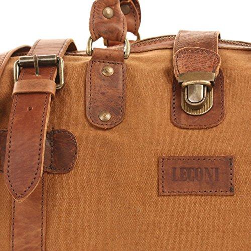 LECONI XL Shopper Canvas Leder Vintage kleiner Weekender Reisetasche Unisex Damen Herren 45x30x20cm LE2008-C Cognac / Braun