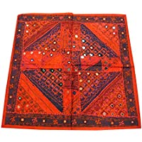 "Mogul Interior Moroccan Tapestry Hand Embroidered Mirrorwork Banjara Patchwork Wall Throw 40""X 40"""