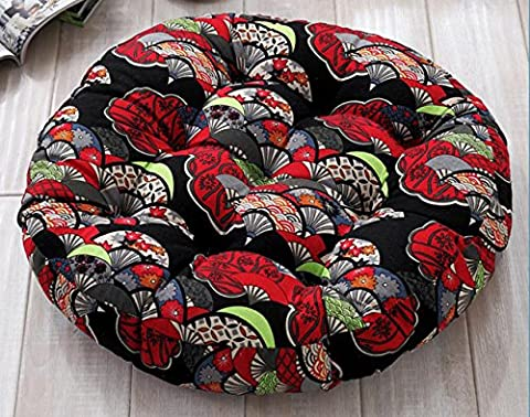 The tatami mat cotton linen thick chair seat cushion rattan seat cushion round futon 55*55cm, round - Black and