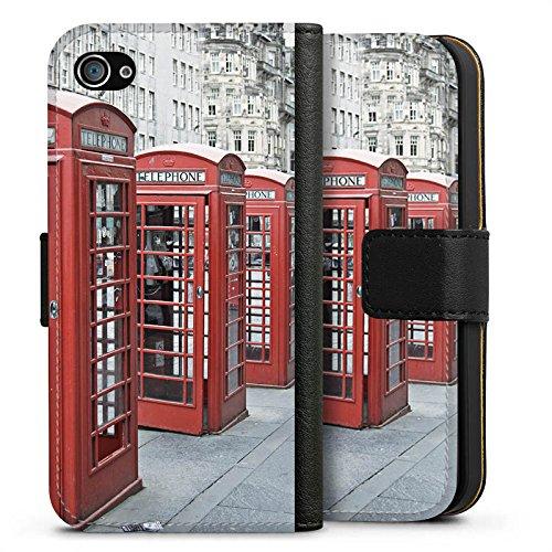 Apple iPhone X Silikon Hülle Case Schutzhülle Rote Telefonzelle England Großbritannien Sideflip Tasche schwarz
