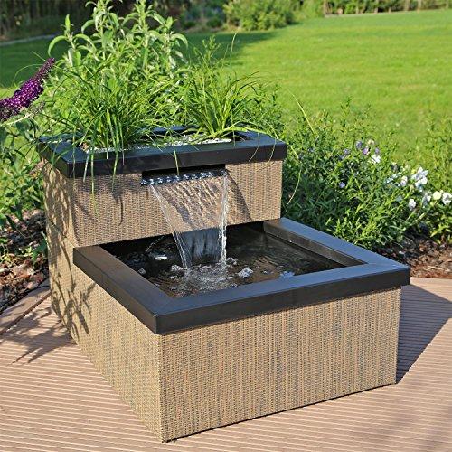 CLGarden Miniteich MTWS1 mit Wasserfall LED Beleuchtung Pumpe Set Mini Teich für Garten Balkon Terrasse