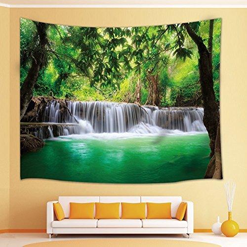 KWYAN Tapisserie Woodland Decor Wasserfall Dschungel Tropic Pflanzen Bäume Wasserlandschaft Tourist Tapisserie WandkunstWanddecken 130cmx150cm - Tiere Woodland Schal