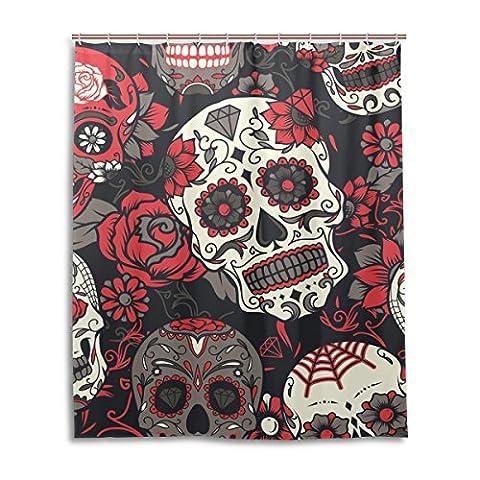 jstel Decor Duschvorhang Colorful Sugar Skull mit Blumen Print 100% Polyester Stoff Vorhang für die Dusche 152,4x 182,9cm für Home Badezimmer Deko Dusche Bad Vorhänge