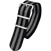 Pacific Time First 10041 - Cinturino di ricambio per orologio, in tessuto, fibbia ad ardiglione sportivo, colore: Nero…