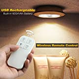 Wireless Puck Night Light, Morpilot 5 LED Rechargeable Puck Light Remote Control Cabinet Light White Light Spot Light Stick-On Anywhere Tap Lights for Cabinets Closets Attics Garages Car Sheds Storage Room (3Pack)