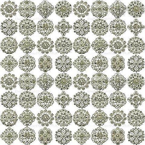 NEW 72pcs MIX SET SILVER FLOWER PIN BROOCHES DIAMANTE CRYSTAL JOBLOT BRIDAL BROOCH WEDDING UK SELLER