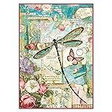 Stamperia Papel de Arroz Wonderland Libélula, Multicolor, 21 x 29.7 cm