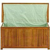 Auflagenbox Holz | Akazie | XXL 117cm | mit Innenplane | vorgeölt | Holztruhe Holz Kissenbox Gartenbox Gartentruhe Truhe - 4