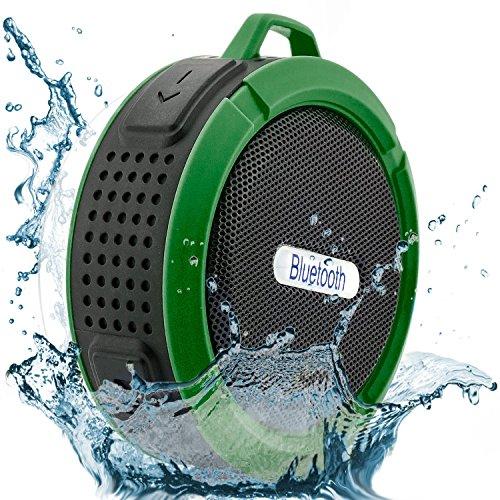 Saxonia Bluetooth Lautsprecher Mini Outdoor Speaker 5W Mobil mit Saugnapf für Dusche Bad Sport Camping (wasserdicht) Grün (Dusche Bank Wandhalterung)