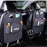 Finsink Auto Filz Rücksitzorganizer, 2pcs Auto Organizer Rücksitz Rückenlehnenschutz Rücksitzschoner Auto Aufbewahrungsbeutel mit Tasche (Dunkelgrau)