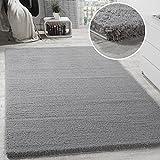 Paco Home Shaggy Teppich Micro Polyester Wohnzimmer Teppiche Elegant Hochflor Grau, Grösse:80x300 cm